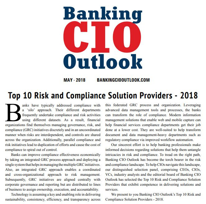 Banking CIO Outlook_Top 10 Risk and Compliance Solution Providers